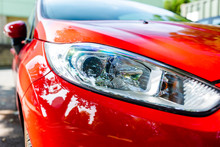 Headlights Of A Red Car