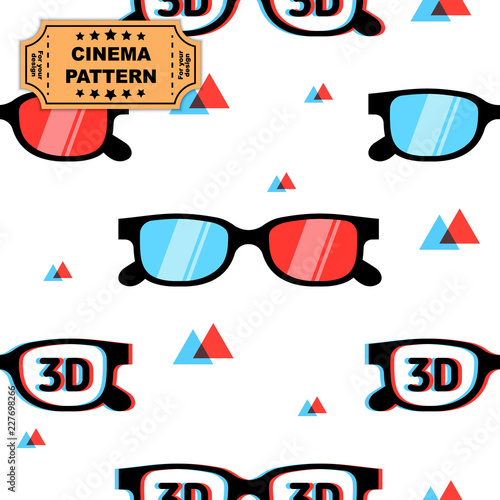 Photo 3d glasses seamless vector pattern, print for graphic design, fabric, fashion