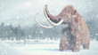 canvas print picture woolly mammoth, prehistoric mammal in snowy ice age landscape