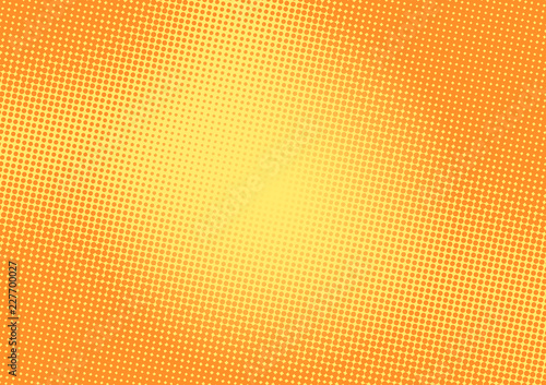 Bright yellow and orange pop art retro background with halftone in comic style, vector illustration eps10