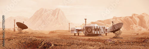 base on Mars, first colonization, martian colony in desert landscape on the red Poster Mural XXL