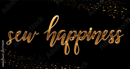 Vector illustration with gold sparkling lettering sew