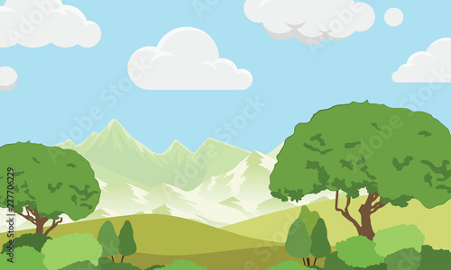 Vector image of nature. Mountains, trees, lawn and bushes. Used for the background of various designs.