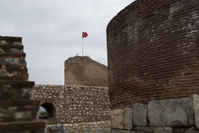 Castle Of Iznik With Turkish Flag.