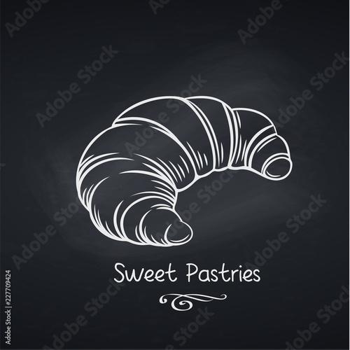 croissant on chalkboard Fototapet