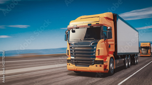 Fotografie, Obraz The truck running on the road speed.
