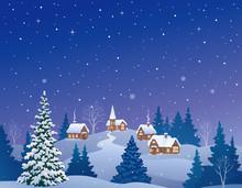 Christmas Eve Country, Cartoon Landscape