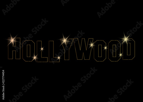 hollywood golden vector logo , gold letters isolated or black background Canvas Print