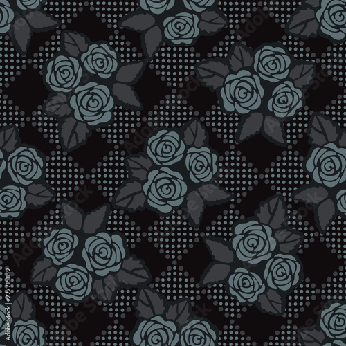 ... Seamless Vector Pattern, Hand Drawn Gothic Style Flower Illustration for Trendy Fashion Prints, Wallpaper, Packaging, Masculine Home Decor, Gift Wrap.