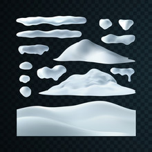 Vector Set Of Snow Caps, Snowball And Snowdrift