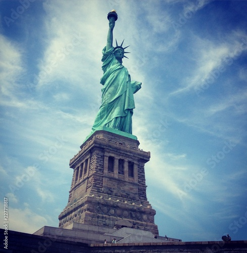 New York, Estatua, Libertad, Estatua de la Libertad, Cielo, Manhattan, Viaje, Rí Canvas Print
