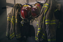 Firefighters Gears In Fire Station