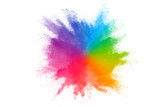 Fototapeta Tęcza - Colorful powder explosion on white background.