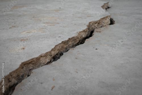 Fototapeta Close up concrete flooring crack and broken obraz