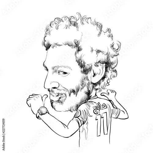 August 2, 2018 Caricature of Mohamed Salah Ghaly an professional footballer Wallpaper Mural