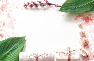 organic spa products on white background, place for text