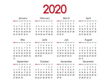 2019 New Year Vector Red Calendar Modern Simple Design With Round San Serif Font,Holiday Event Planner,Week Starts Sunday.