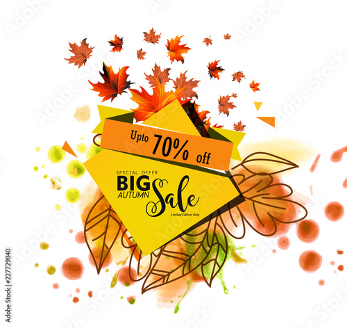 Fototapeta Autumn sale text vector banner with colorful seasonal fall leaves for fall season shopping promotion. Vector illustration. obraz na płótnie
