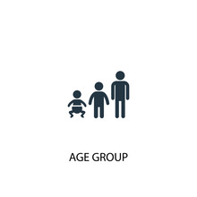 Age Group Icon. Simple Element Illustration. Age Group Concept Symbol Design. Can Be Used For Web And Mobile.