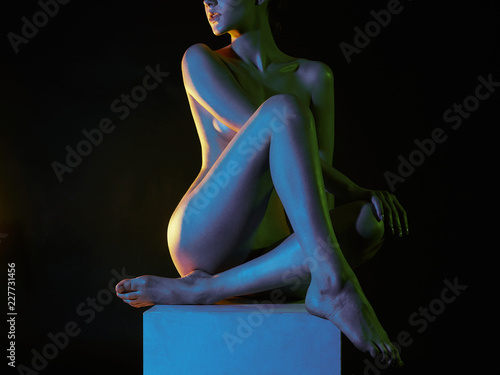 Poster Akt Nude Woman in Colorful bright lights