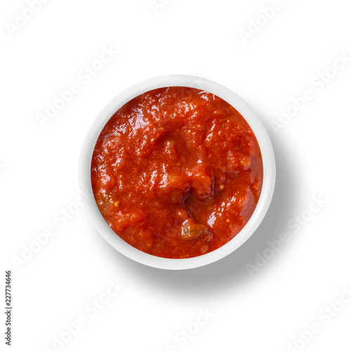 Fototapeta cup of Tomato sauce isolated on white, view from above obraz
