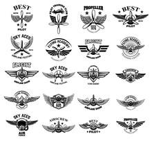 Set Of Vintage Airplane Emblems. Design Elements For Logo, Label, Sign, Menu.