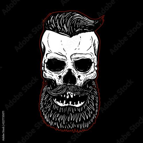 Fotografie, Obraz  Hand drawn bearded skull isolated on black