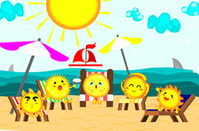 Cute Sun Sunbathing At Beautiful Beach,relaxing Time,summer Concept,vector