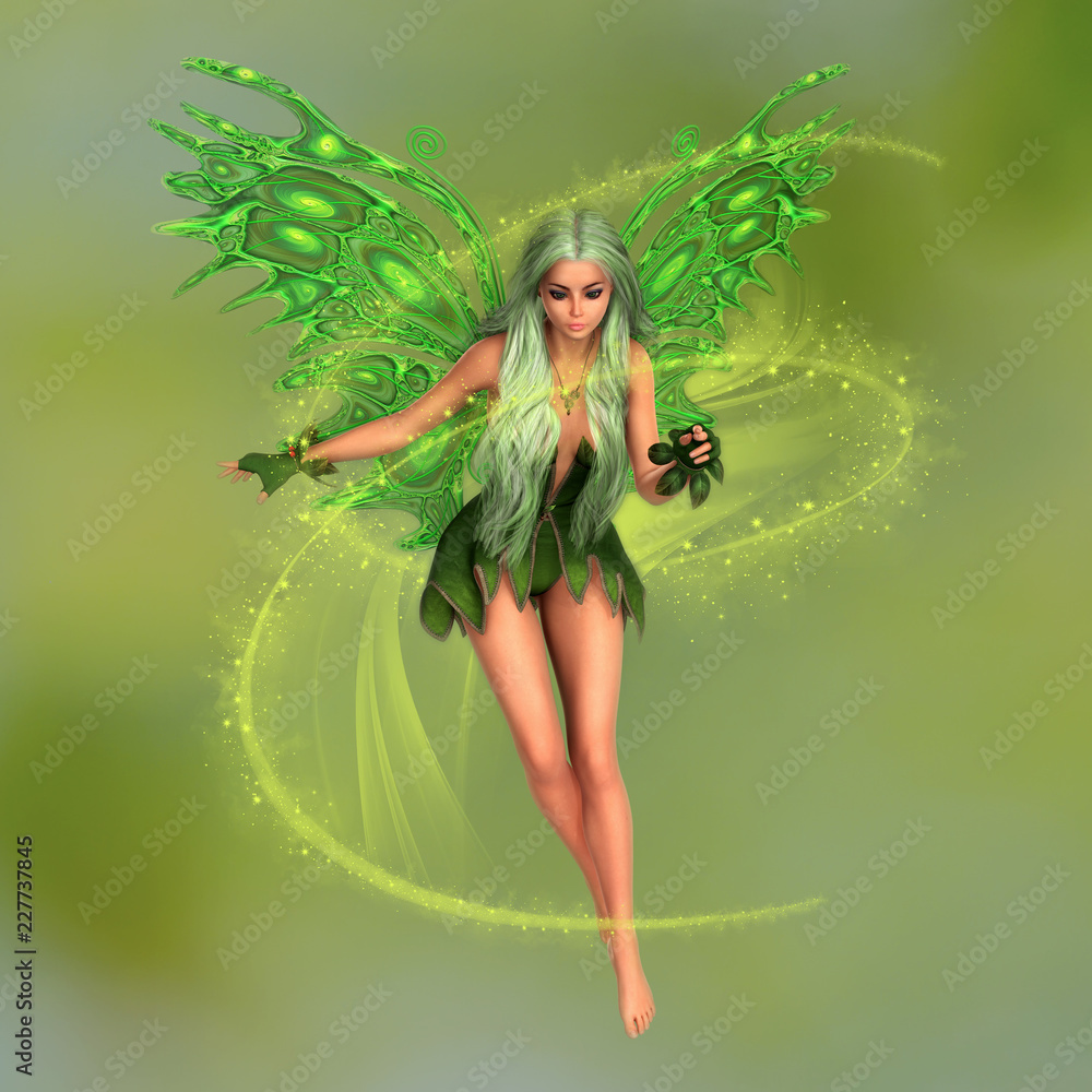 Fototapeta Fairy surrounded with magical dust on green blurred background. 3D rendering.