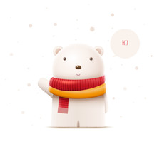 Cute Polar Bear Vector Character Illustration.