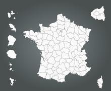 France - Fond De Carte - Dépa...