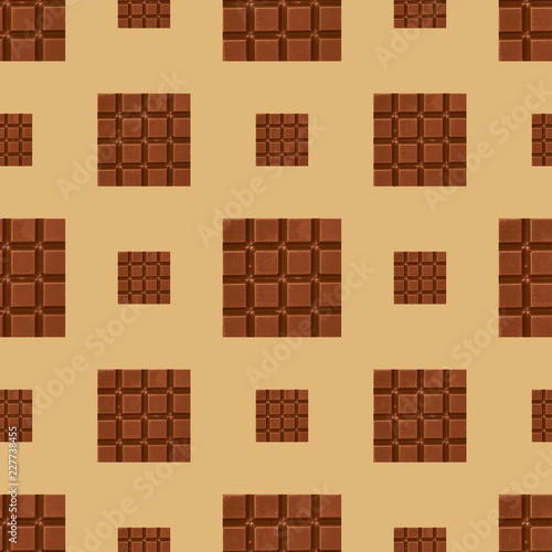 Poster Blanc Close up chocolate pieces seamless pattern background