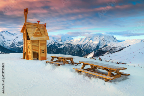 Rest area with beautiful panorama in the French Alps, France