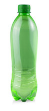 Plastic Green Bottle Of Water Isolated On White Background
