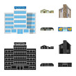 Vector illustration of building and front icon. Collection of building and roof vector icon for stock.