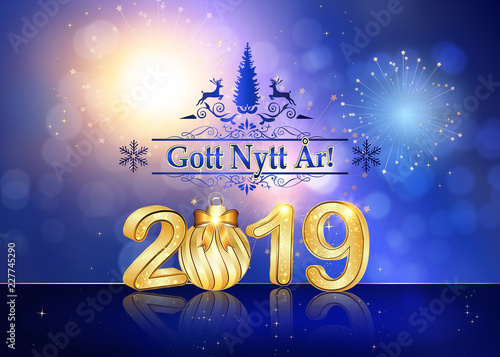 Swedish Happy New Year greeting card , designed for the New Year 2019 celebration.