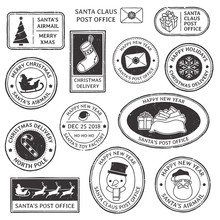 Christmas Stamp. Vintage Santa Claus Postmark, North Pole Mail Cachet And Snowflake Symbol On Stamps Vector Illustration Set