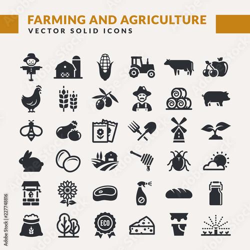 Fototapeta Farming and agriculture vector icons. obraz
