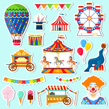 Stickers Of Circus And Amuseme...