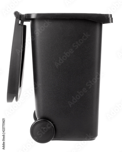 Photo Trash can open plastic black