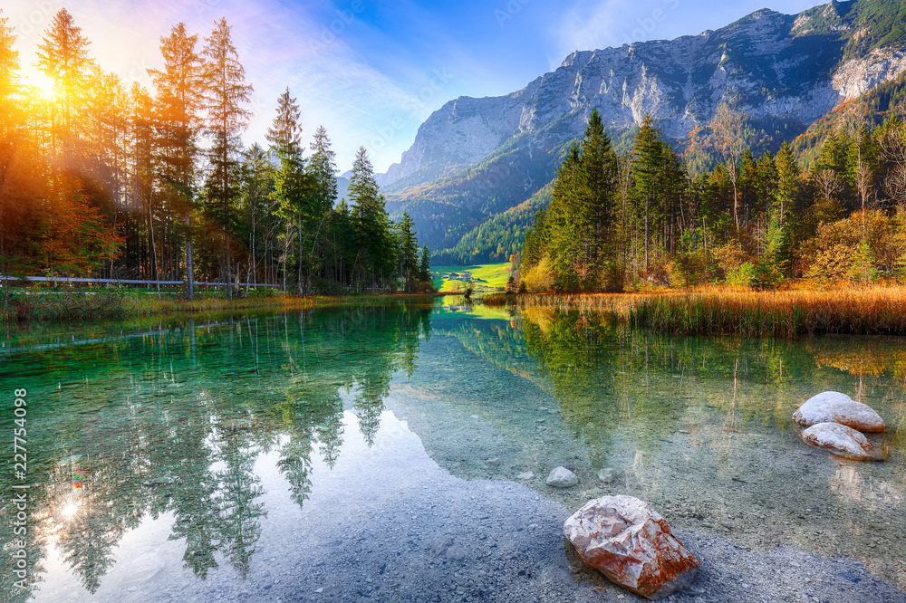 Fantastic autumn sunrise of Hintersee lake