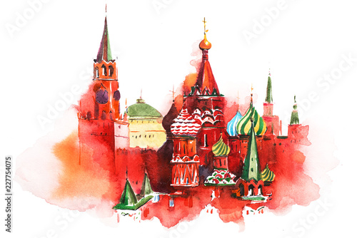 Canvas Print Moscow Russia Red square Saint Basil Cathedral Watercolor