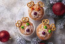 Christmas Cupcake In Shape Of Deer Or Bear