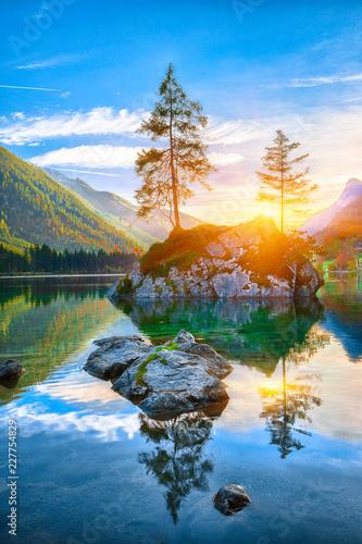 Fantastic autumn sunset of Hintersee lake Wall mural