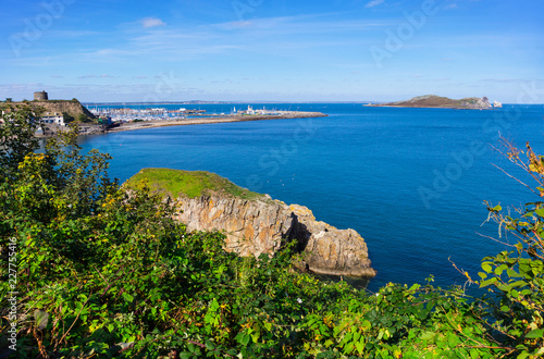 Landscape with harbor of Howth near Dublin, in the background the island Ireland Canvas Print