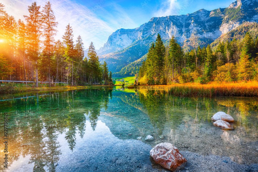 Fototapeta Fantastic autumn sunset of Hintersee lake