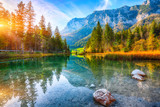Fototapeta Room - Fantastic autumn sunset of Hintersee lake