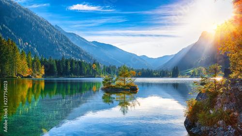 Poster Lac / Etang Fantastic autumn sunset of Hintersee lake