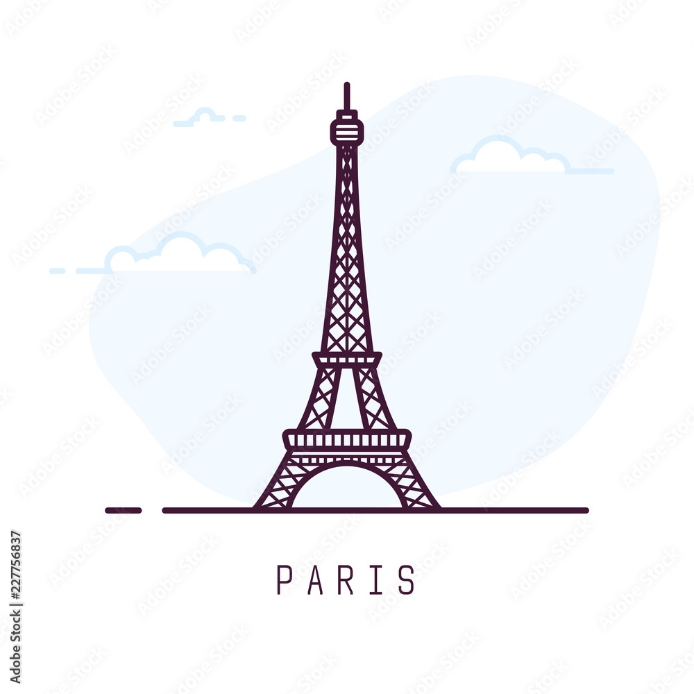 Fototapeta Paris city line style illustration. Famous Eiffel tower in Paris, France. Architecture city symbol of France. Outline building vector illustration. Sky clouds on background. Travel and tourism banner.