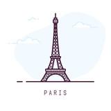 Fototapeta Wieża Eiffla - Paris city line style illustration. Famous Eiffel tower in Paris, France. Architecture city symbol of France. Outline building vector illustration. Sky clouds on background. Travel and tourism banner.